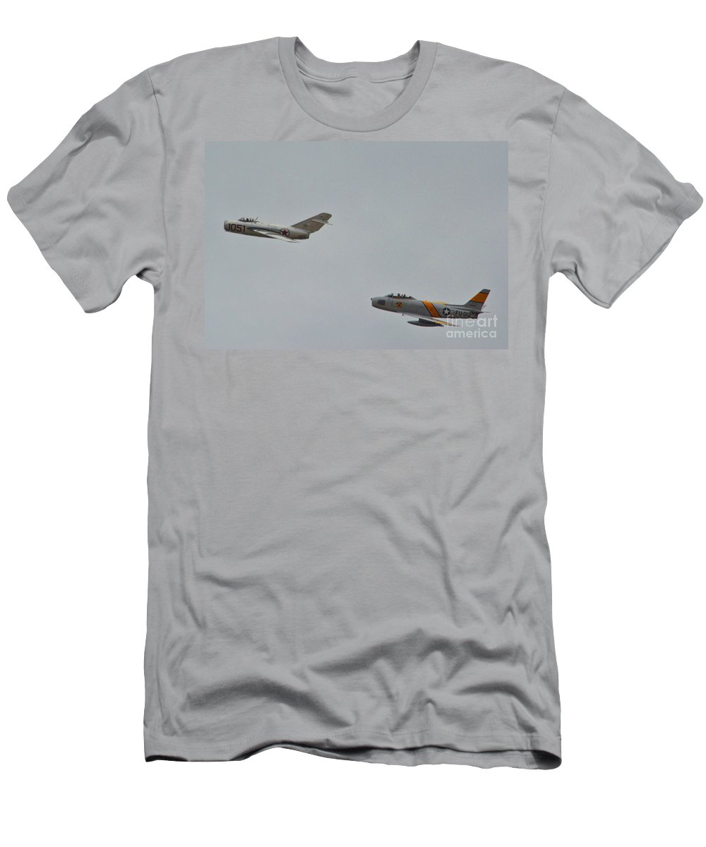 Fighter Pilots Men's T-Shirt (Athletic Fit) featuring the photograph The Adversaries by Tommy Anderson
