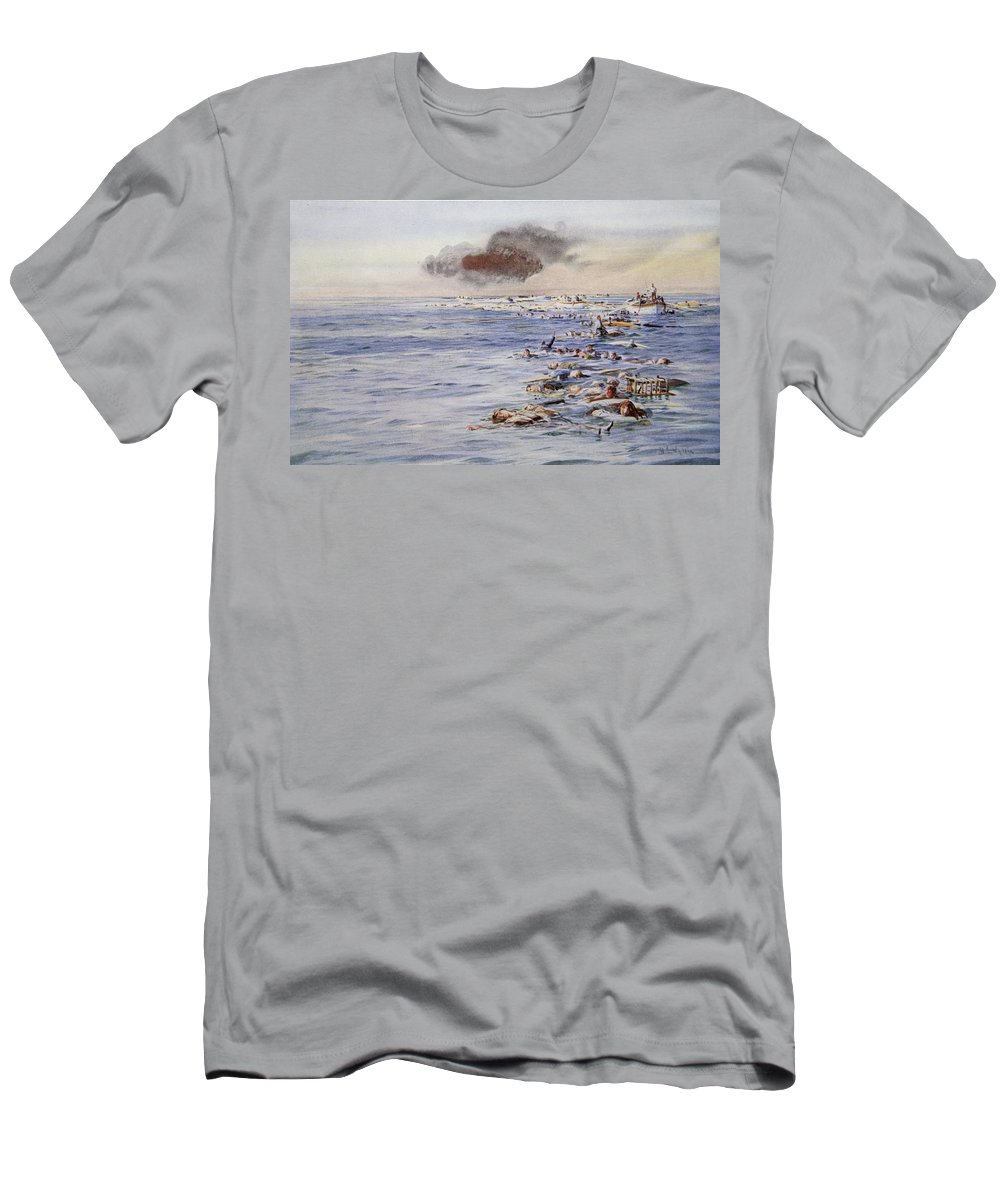Ocean Liner Men's T-Shirt (Athletic Fit) featuring the drawing The Aftermath Of The Lusitania by William Lionel Wyllie