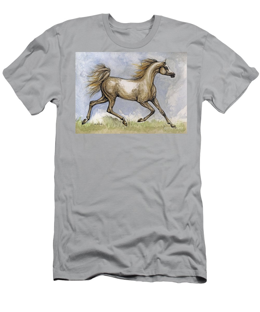 Mare Men's T-Shirt (Athletic Fit) featuring the painting The Arabian Mare Running by Angel Ciesniarska