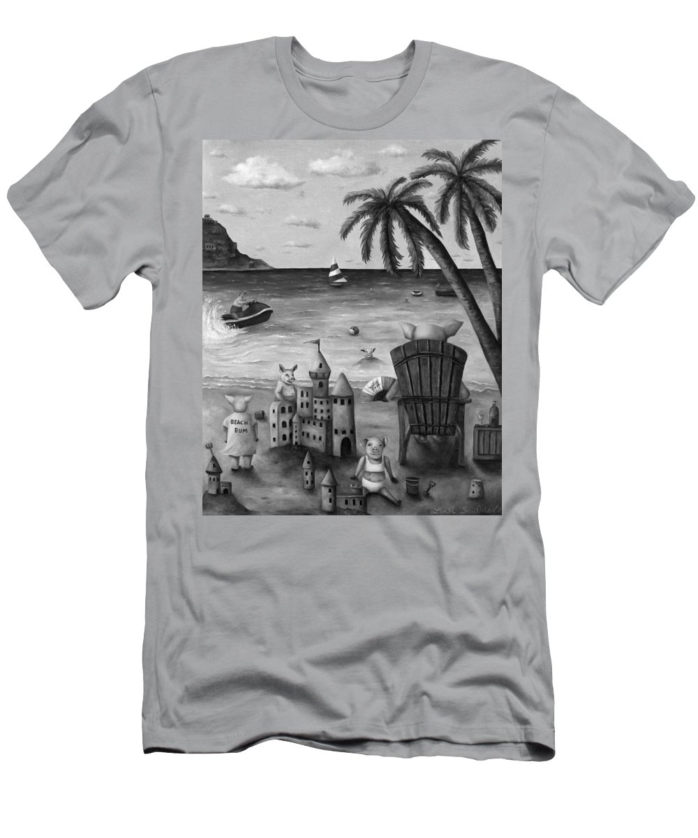 Pig Men's T-Shirt (Athletic Fit) featuring the painting The Bacon Shortage In Bw by Leah Saulnier The Painting Maniac