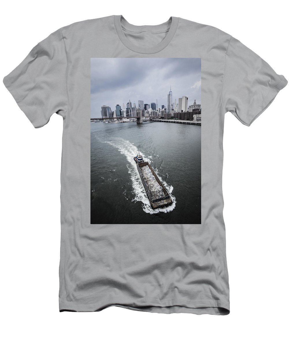 Manhattan Men's T-Shirt (Athletic Fit) featuring the photograph The Barge by Alex Potemkin