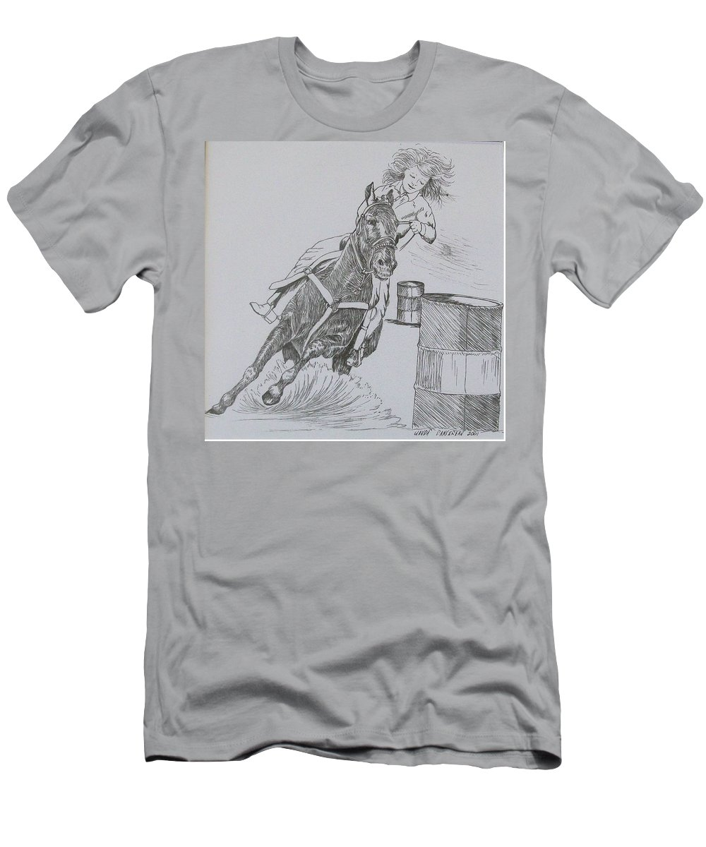 Black And Grey Black Poster Men's T-Shirt (Athletic Fit) featuring the drawing The Barrel Racer by Wanda Dansereau