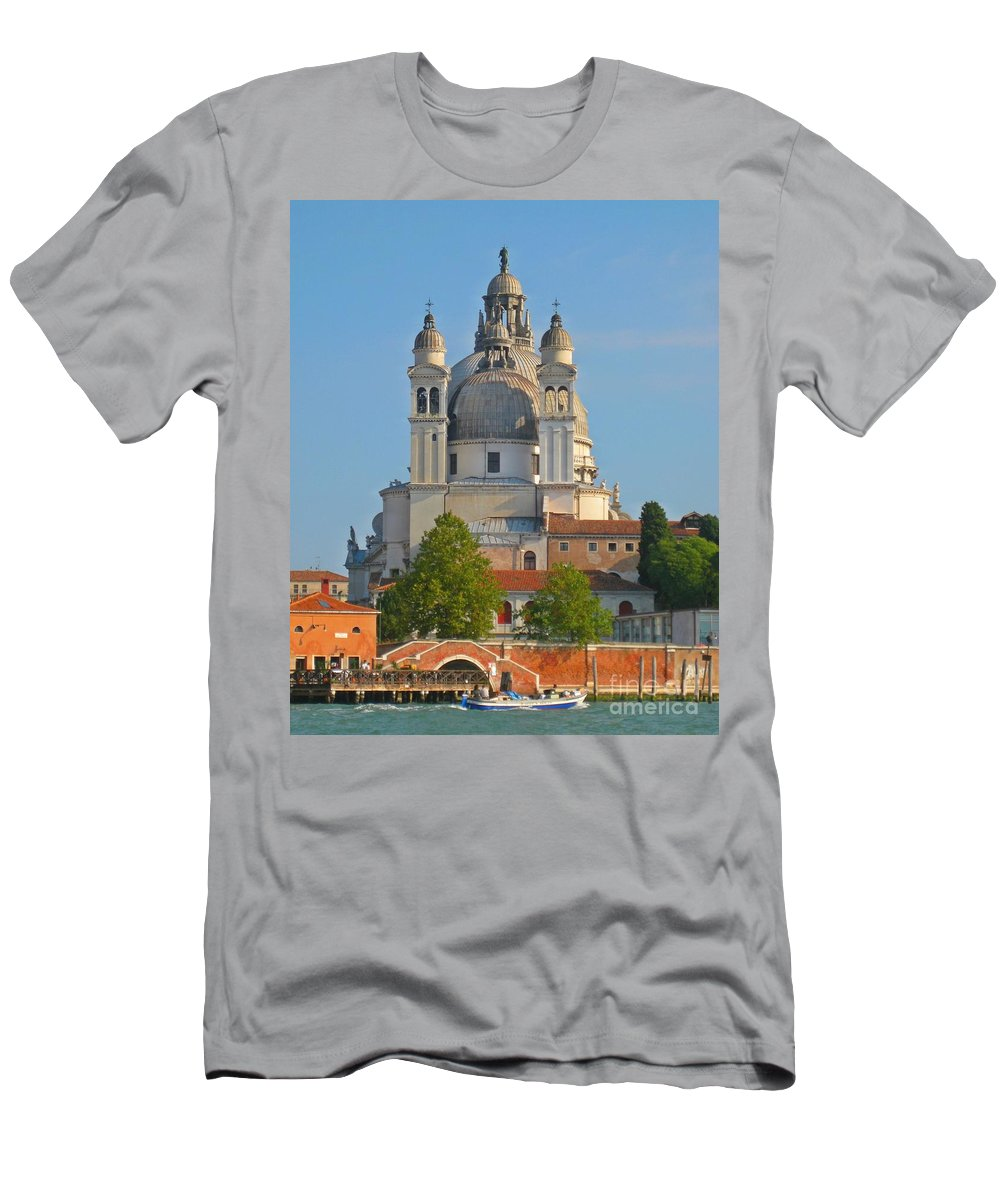 Basilicas Men's T-Shirt (Athletic Fit) featuring the photograph The Basilica Di Santa Maria Della Salute by John Malone