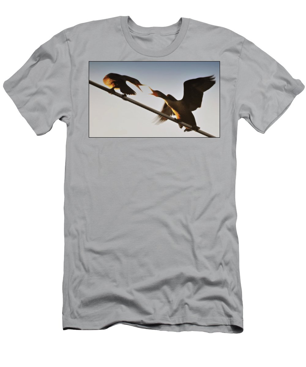 Cormorants Men's T-Shirt (Athletic Fit) featuring the photograph The Battle by Marysue Ryan