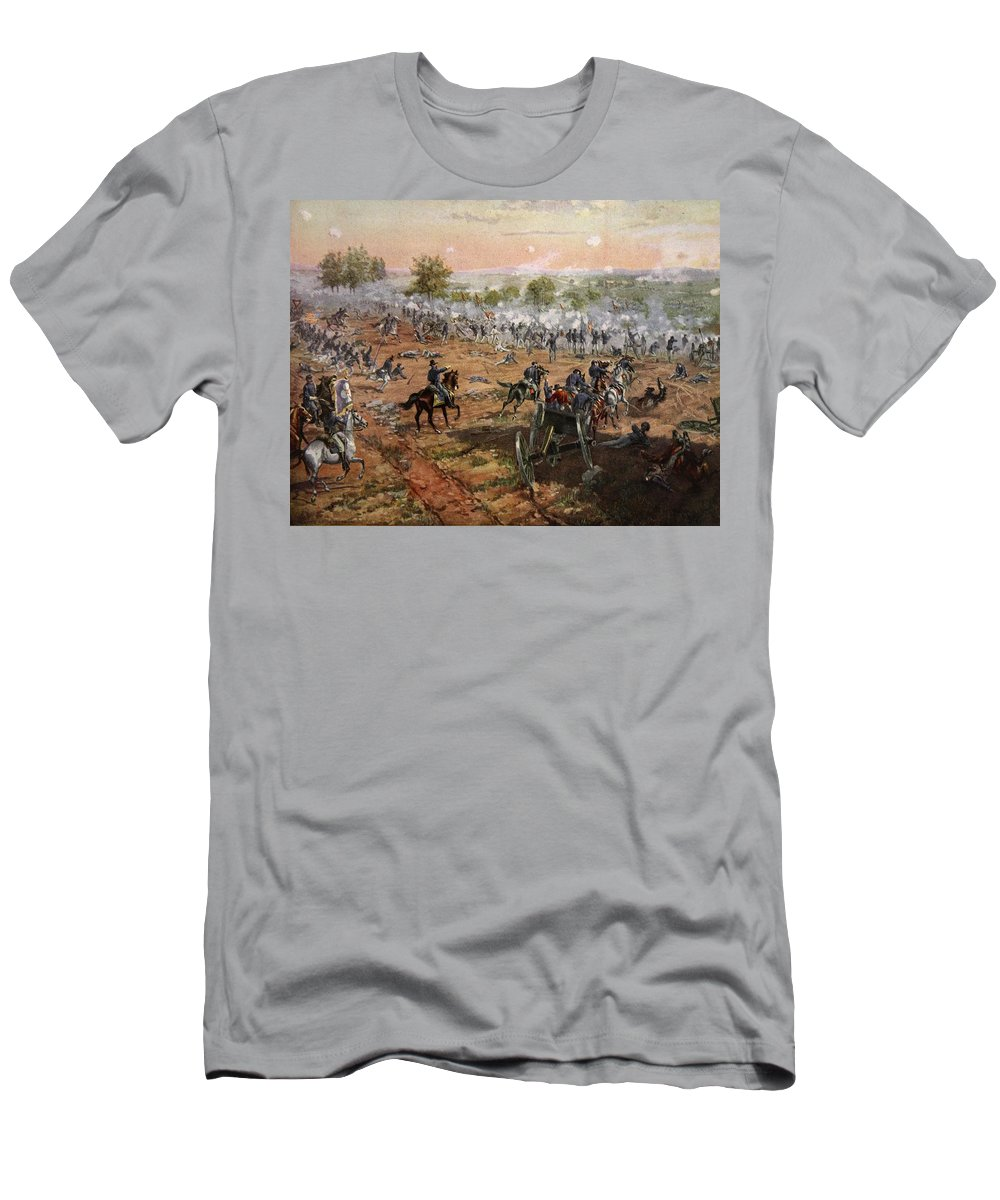 Attack Men's T-Shirt (Athletic Fit) featuring the drawing The Battle Of Gettysburg, July 1st-3rd by Henry Alexander Ogden
