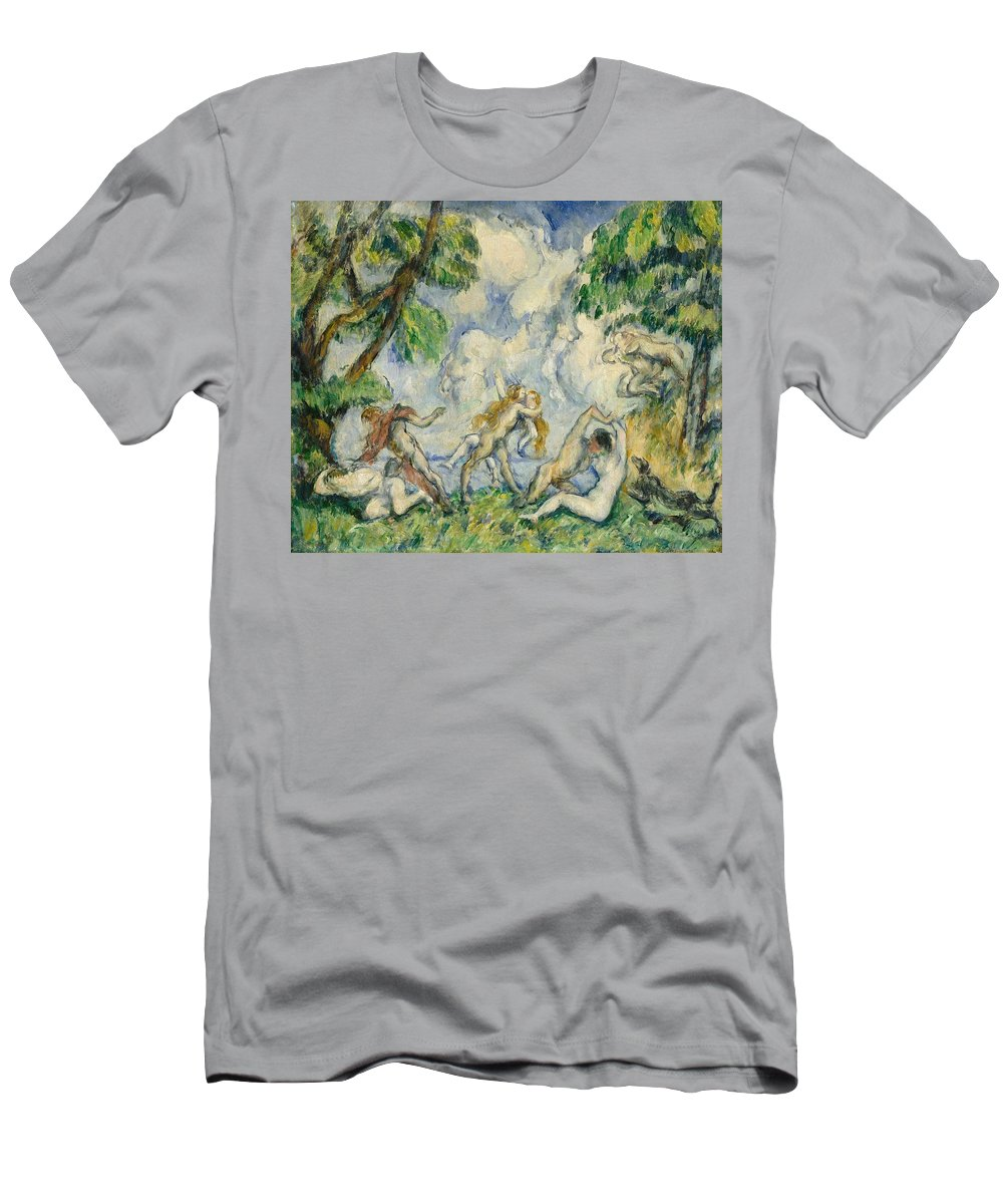 Fight; Fighting; Satyr; Nymphs; Nymph; Post; Impressionist; Impressionism Men's T-Shirt (Athletic Fit) featuring the painting The Battle Of Love by Paul Cezanne