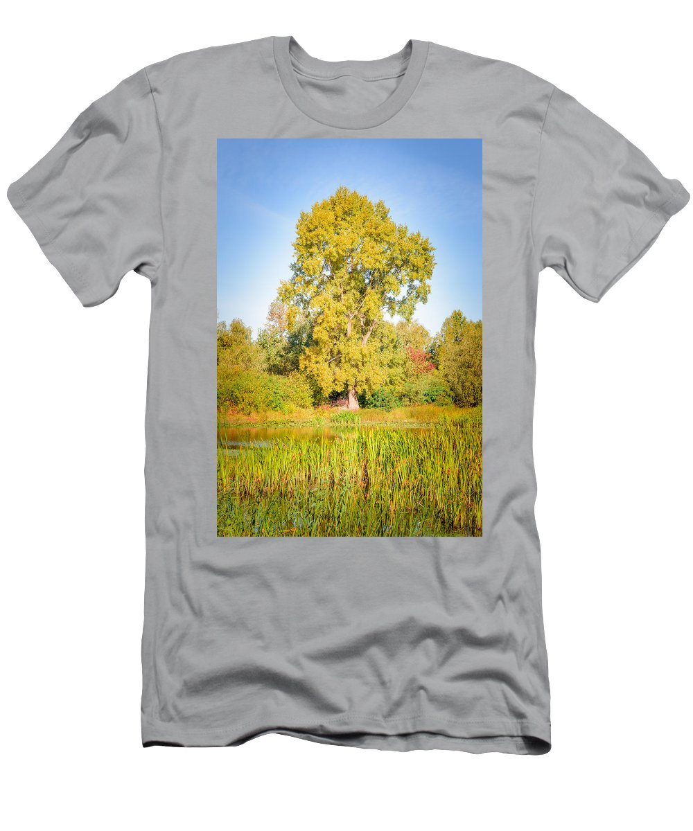 Dnieper Men's T-Shirt (Athletic Fit) featuring the photograph The Big Autumn Poplar by Alain De Maximy