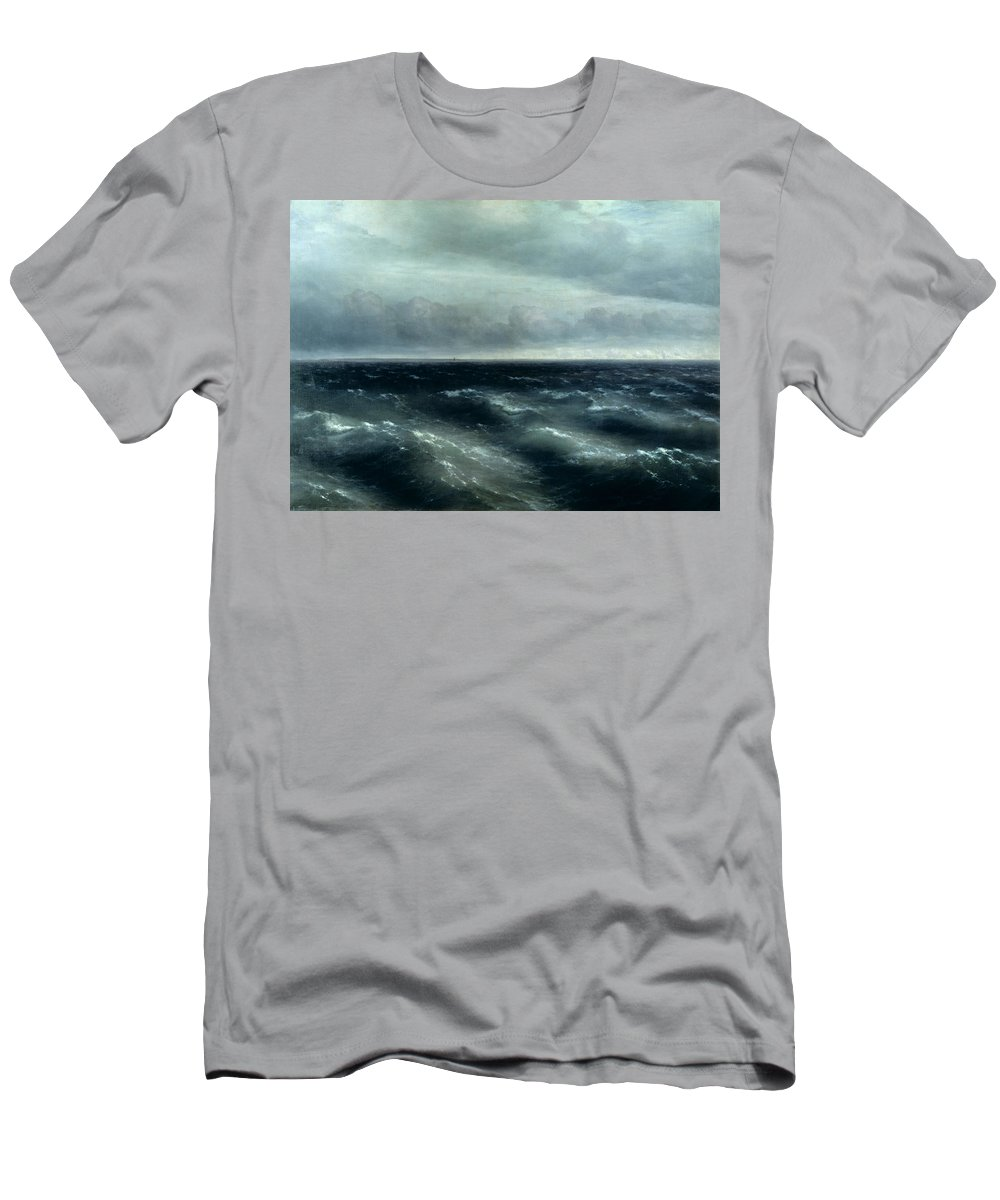 Sea Men's T-Shirt (Athletic Fit) featuring the painting The Black Sea by Ivan Konstantinovich Aivazovsky