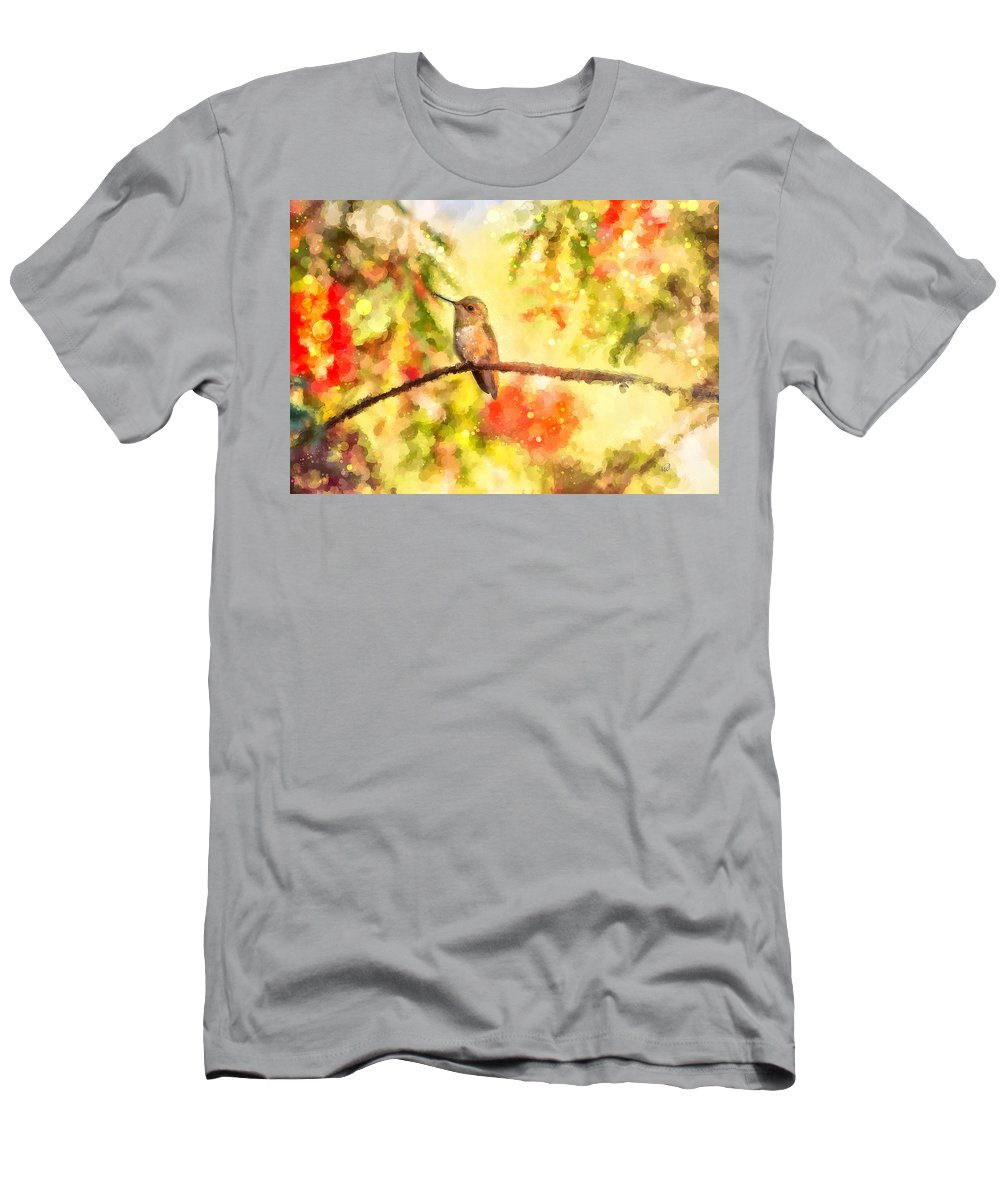 Ipad Men's T-Shirt (Athletic Fit) featuring the painting The Bubbly World Of A Hummingbird by Angela Stanton