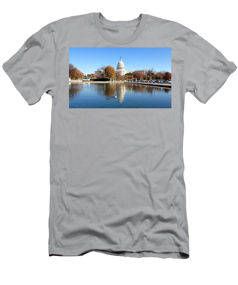 Capitol Men's T-Shirt (Athletic Fit) featuring the photograph The Capitol In Fall by Lois Ivancin Tavaf
