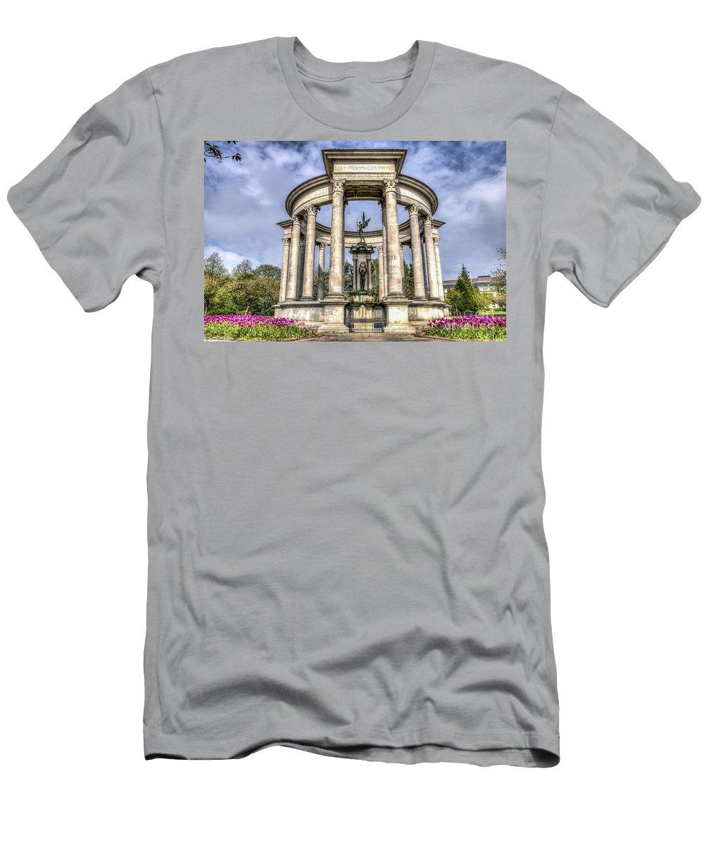 The Cenotaph Cardiff Men's T-Shirt (Athletic Fit) featuring the photograph The Cenotaph Cardiff by Steve Purnell