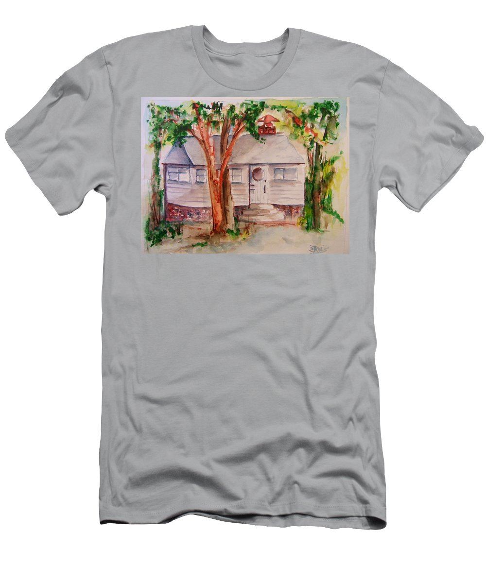 Lake Geneva Men's T-Shirt (Athletic Fit) featuring the painting The Cottage In The Highlands by Elaine Duras
