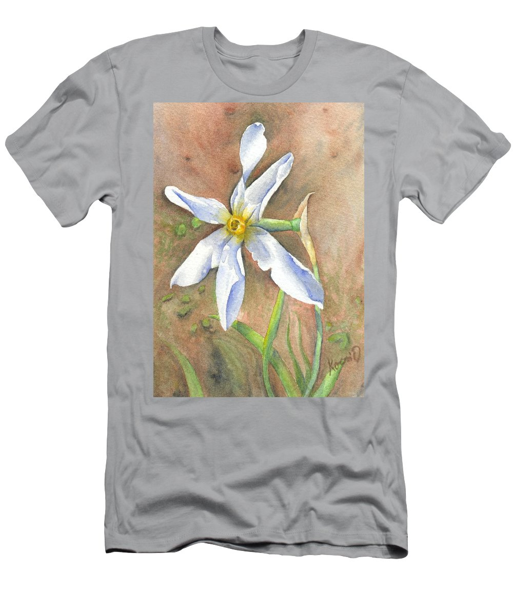 Narcissus Men's T-Shirt (Athletic Fit) featuring the painting The Delicate Autumn Lady - Narcissus Serotinus by Oty Kocsis