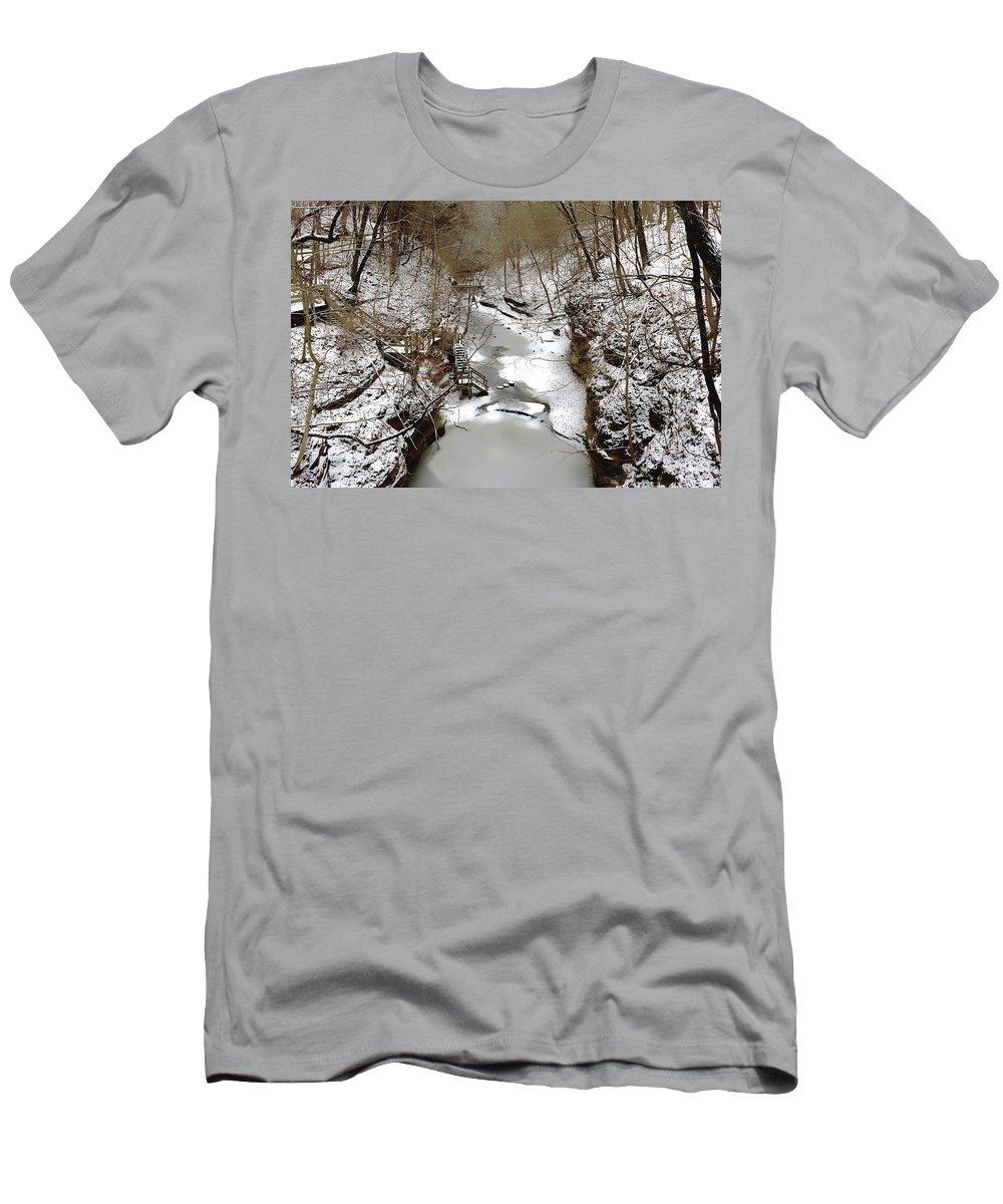 Matthiessen State Park Men's T-Shirt (Athletic Fit) featuring the photograph The Dells by Jeffrey Hamilton