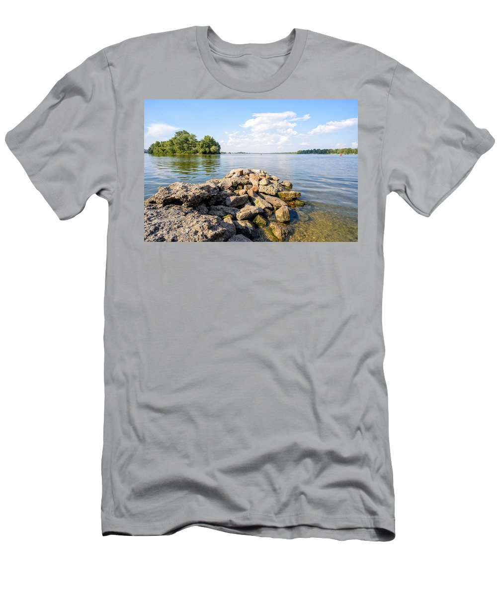 Dnieper Men's T-Shirt (Athletic Fit) featuring the photograph The Dnieper River In Kiev by Alain De Maximy