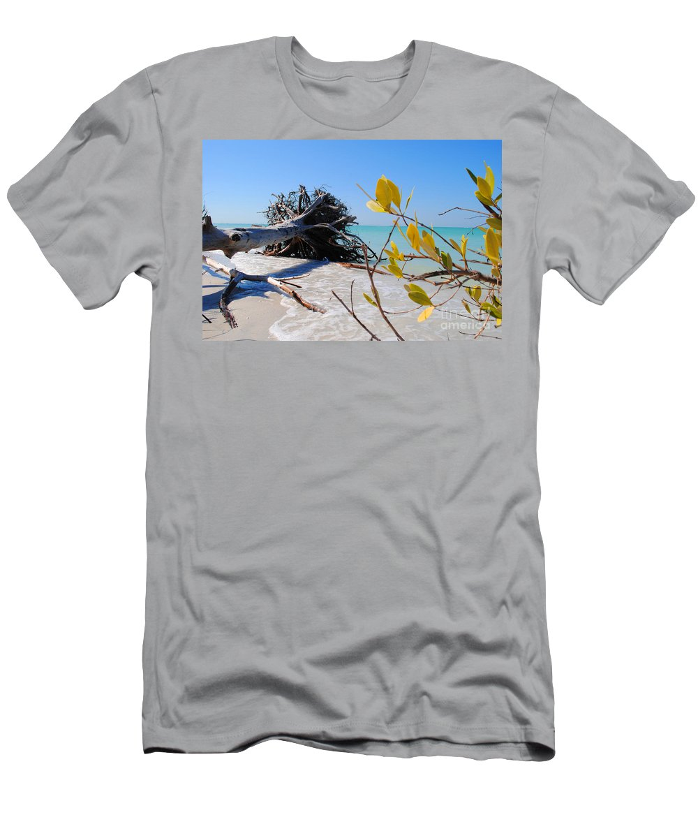 Beach Men's T-Shirt (Athletic Fit) featuring the photograph The Driftwood Beach Tree by Jost Houk