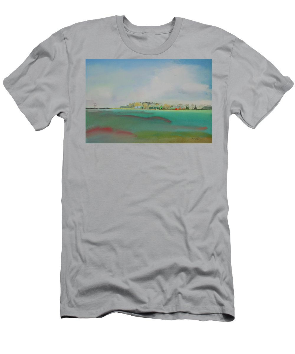 Landscape Men's T-Shirt (Athletic Fit) featuring the painting The English Farm  A Break In The Cloud by Charles Stuart