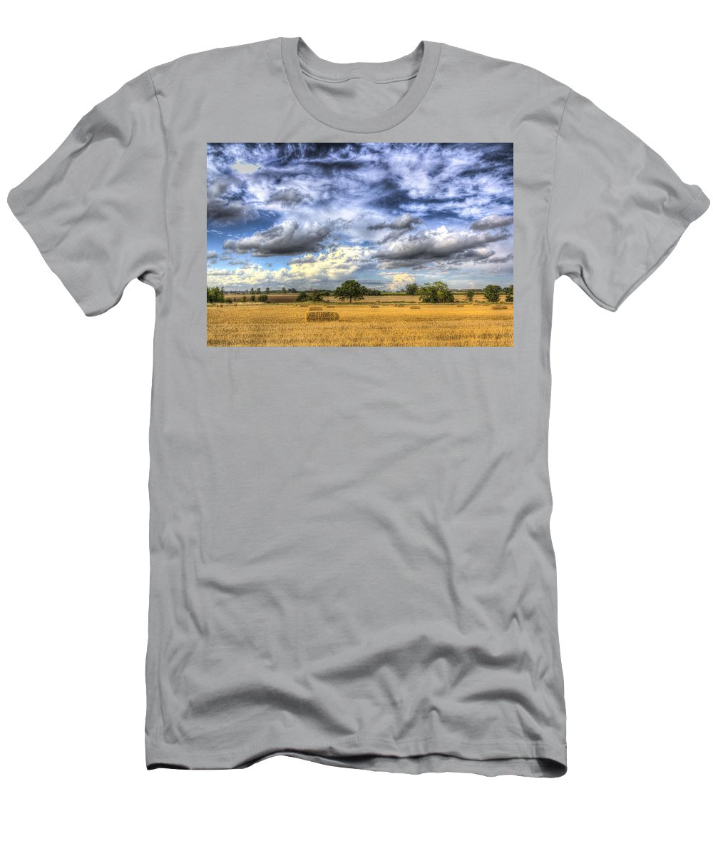 Farm Men's T-Shirt (Athletic Fit) featuring the photograph The Farm In The Summertime by David Pyatt