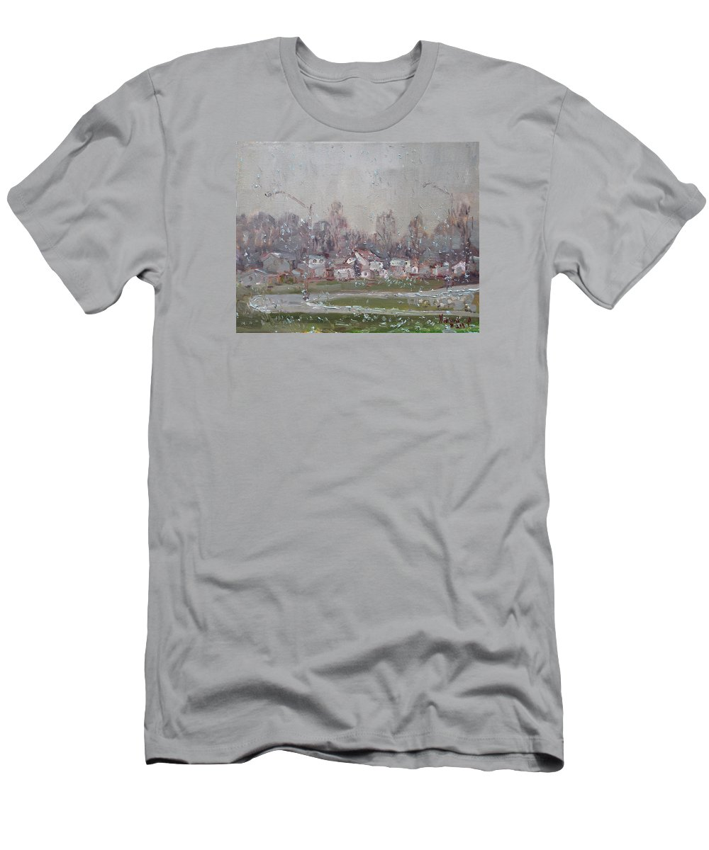 First Snowflakes Men's T-Shirt (Athletic Fit) featuring the painting The First Snowflakes Of The Season by Ylli Haruni