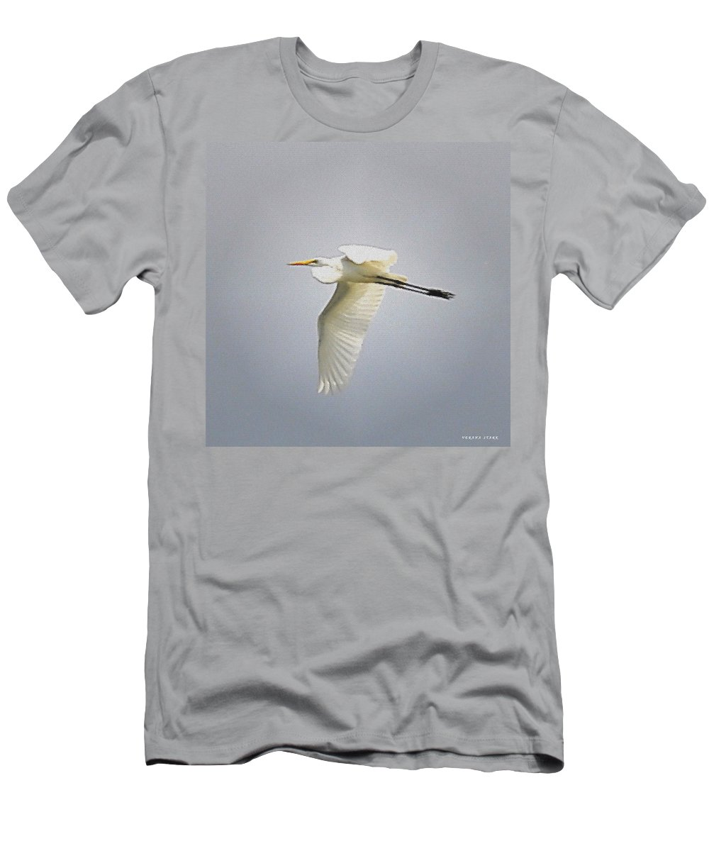 Great Egret Men's T-Shirt (Athletic Fit) featuring the photograph The Flight Of The Great Egret With The Stained Glass Look by Verana Stark