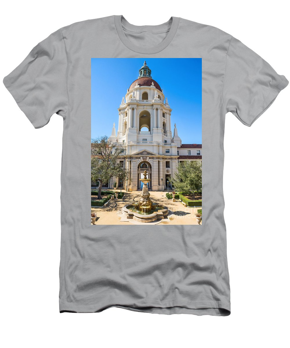 Pasadena City Hall Men's T-Shirt (Athletic Fit) featuring the photograph The Fountain - The Beautiful Pasadena City Hall. by Jamie Pham
