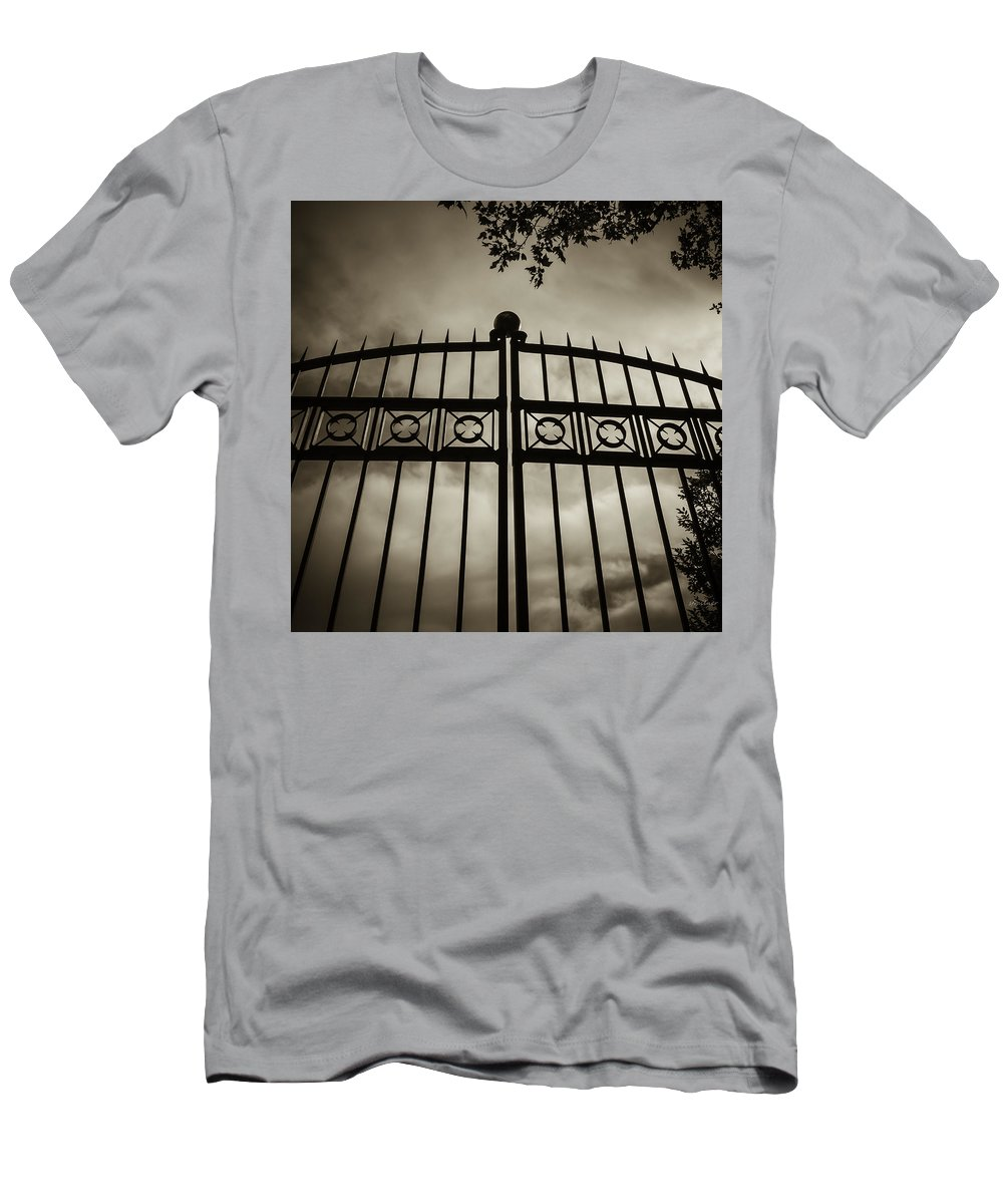 Gates Men's T-Shirt (Athletic Fit) featuring the photograph The Gate In Sepia by Steven Milner