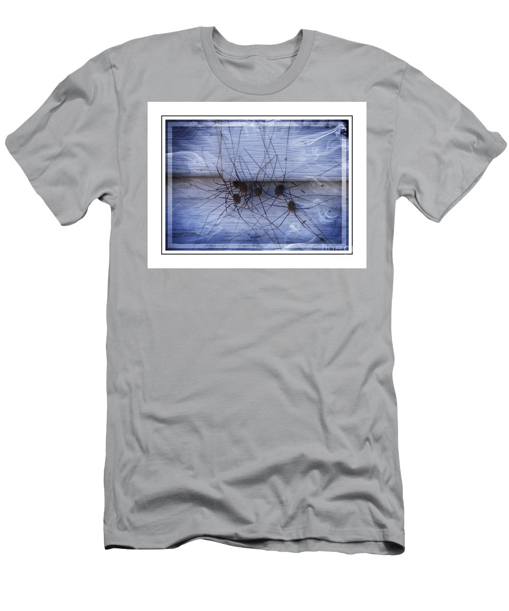Arachnids Men's T-Shirt (Athletic Fit) featuring the photograph The Gathering - Long Leg Spiders by Barbara Griffin