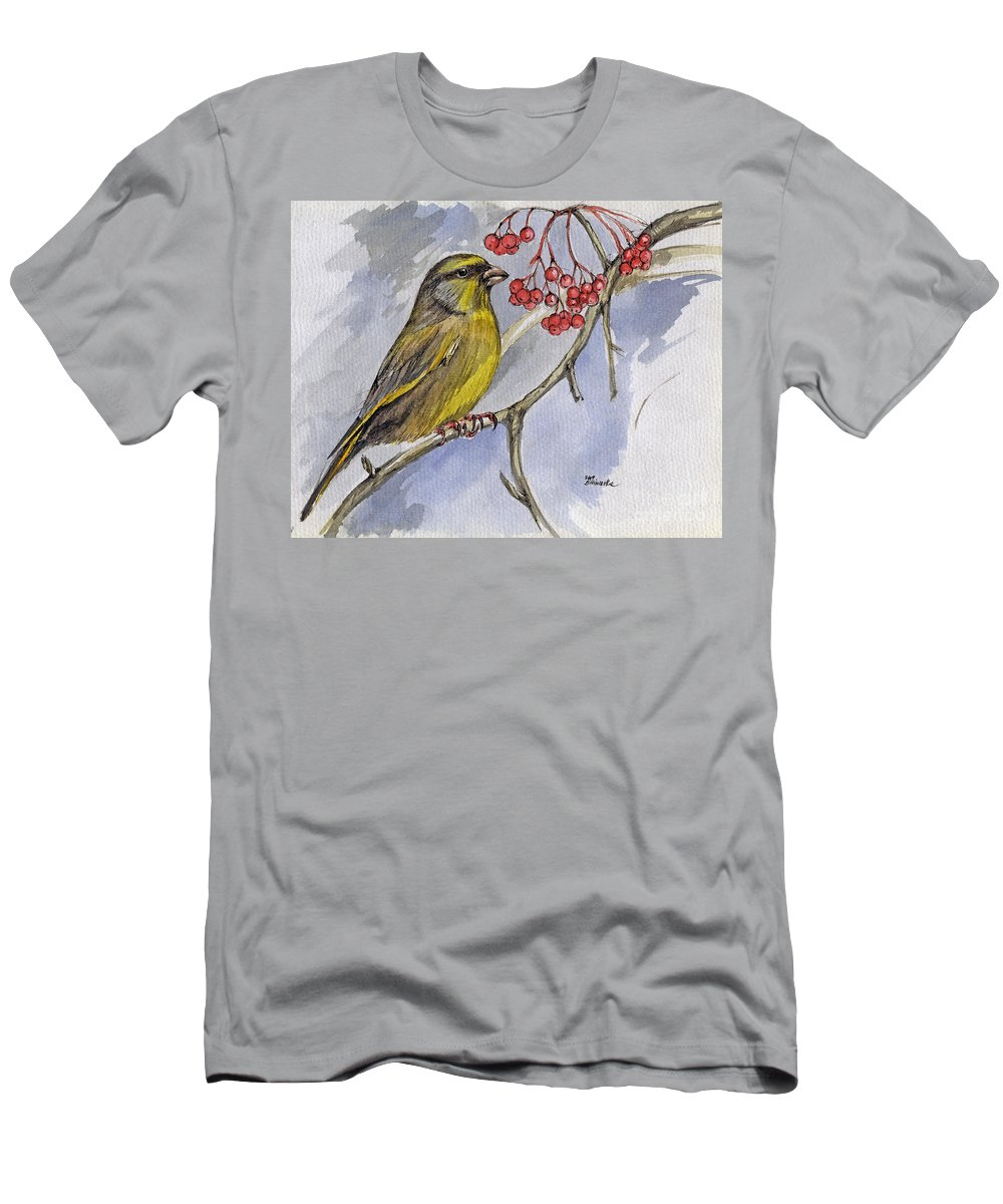 Greenfinch Men's T-Shirt (Athletic Fit) featuring the painting The Greenfinch by Angel Ciesniarska