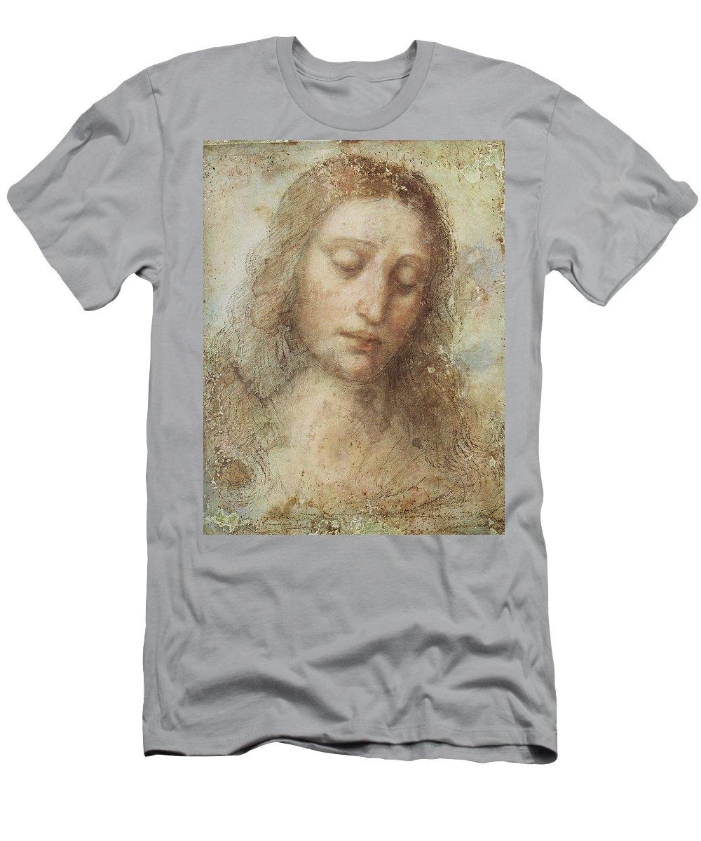 The Head Of Christ Men's T-Shirt (Athletic Fit) featuring the digital art The Head Of Christ by Leonardo da Vinci