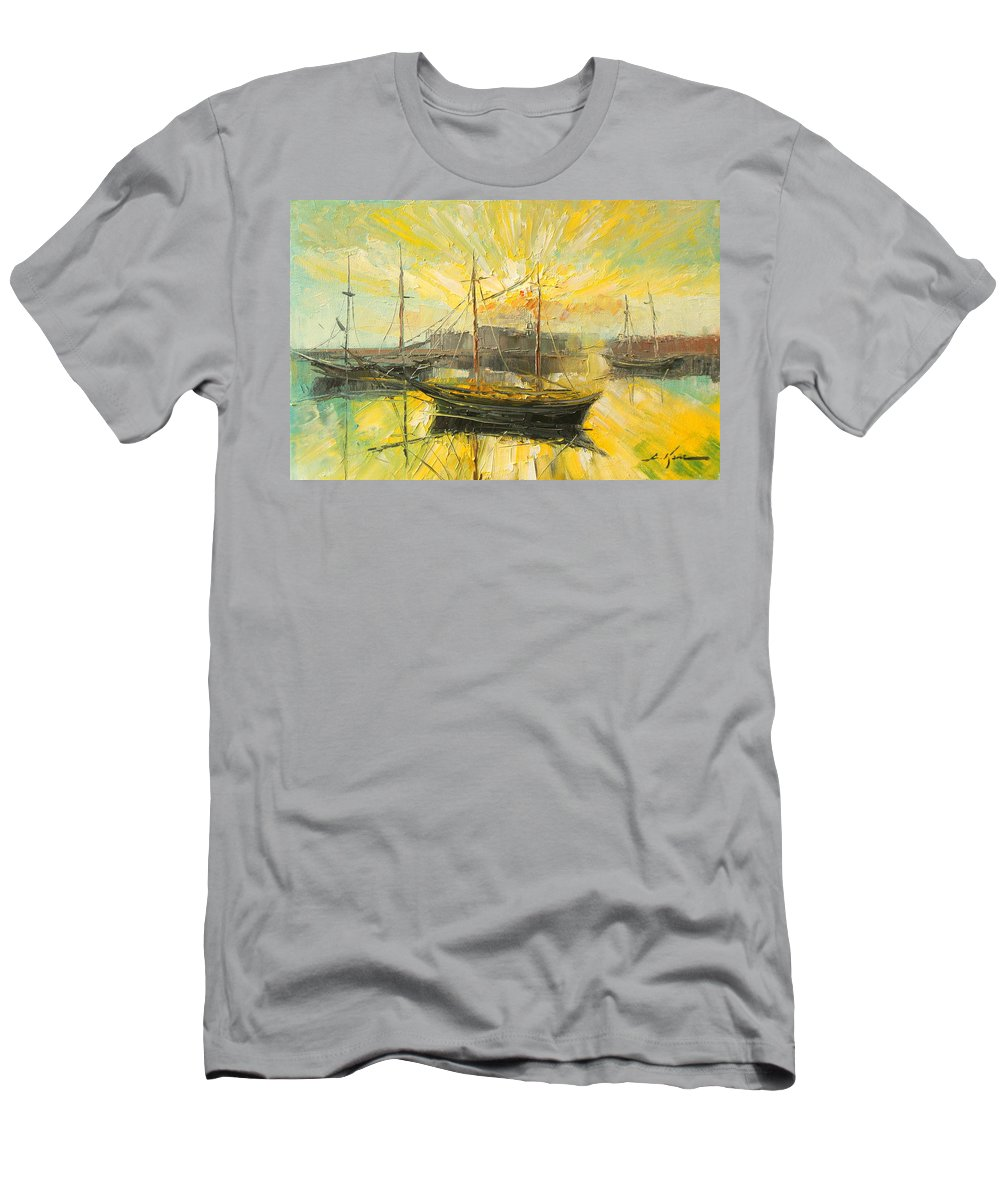 Heraklion Men's T-Shirt (Athletic Fit) featuring the painting The Heraklion Harbour by Luke Karcz
