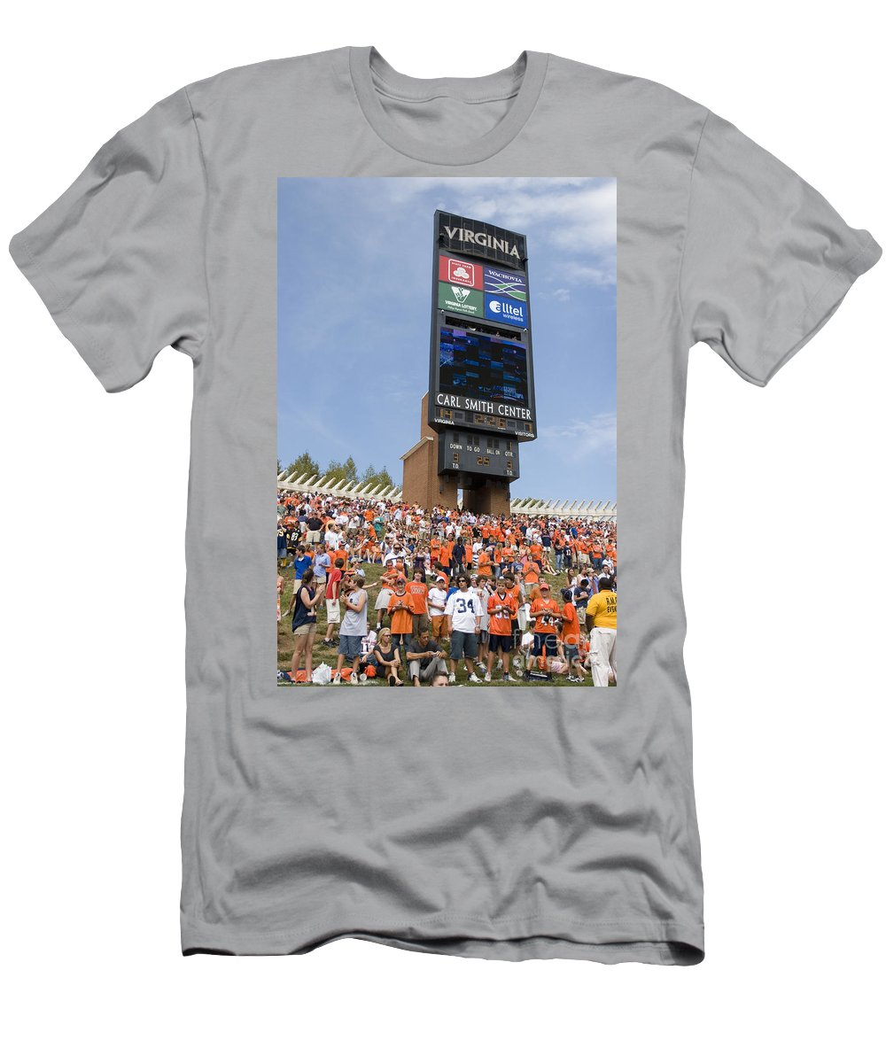University Of Virginia Men's T-Shirt (Athletic Fit) featuring the photograph The Hill At Scott Stadium Uva by Jason O Watson