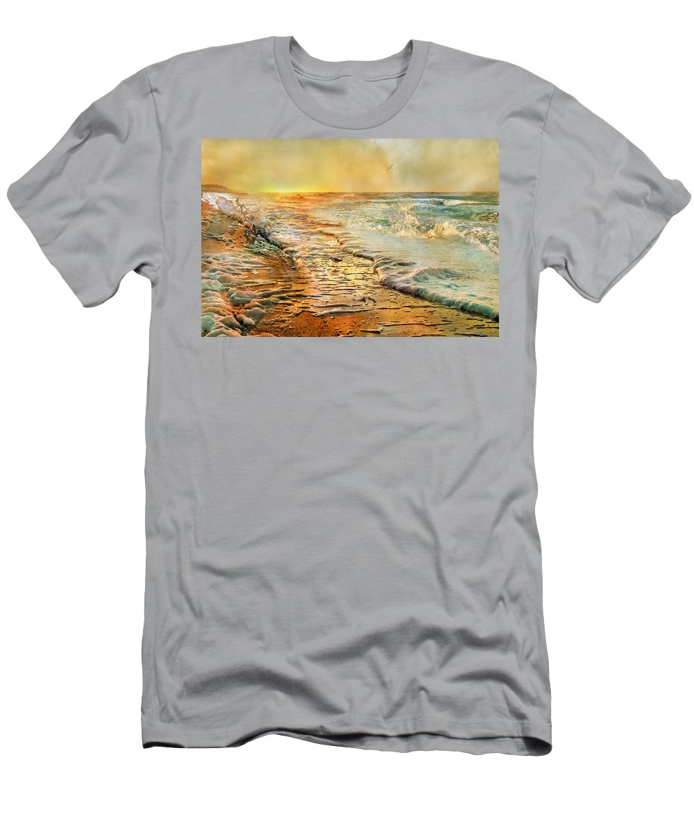Beach Men's T-Shirt (Athletic Fit) featuring the photograph The Inspirational Sunrise by Betsy Knapp