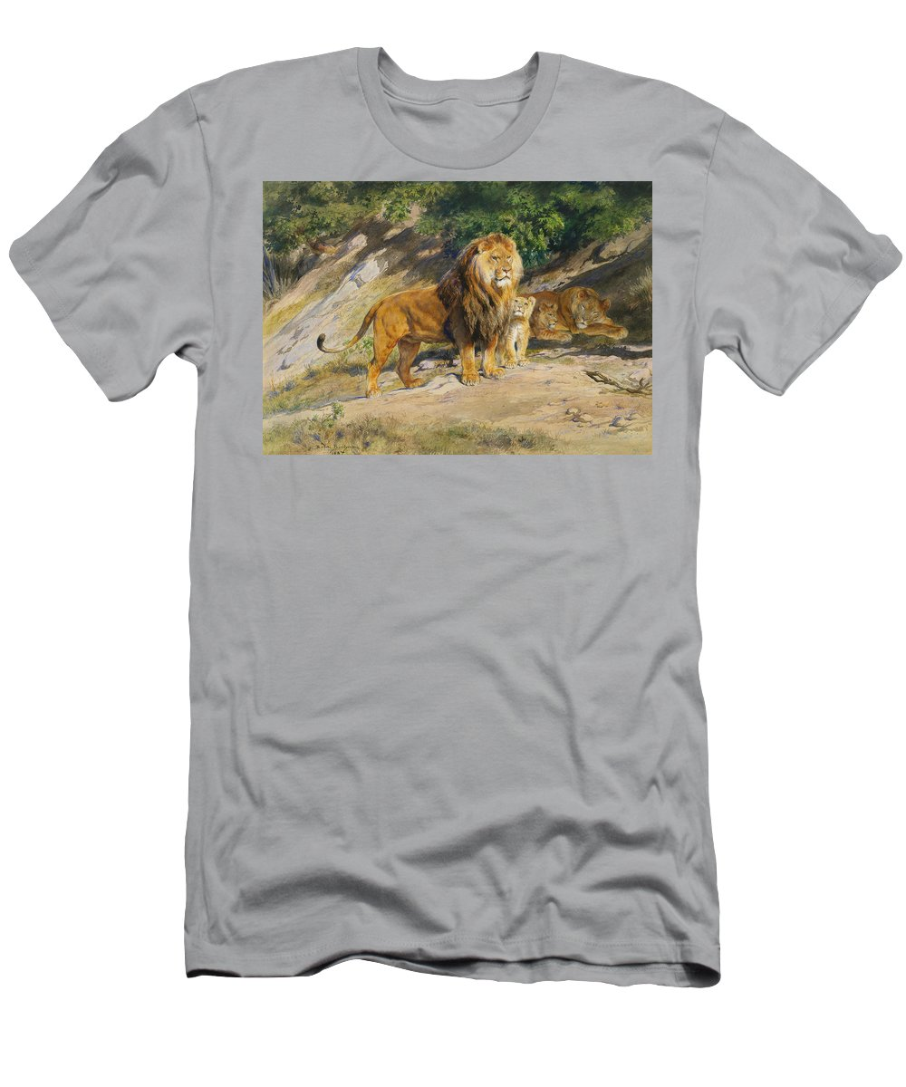 Rosa Bonheur Men's T-Shirt (Athletic Fit) featuring the painting The King Watches by Rosa Bonheur