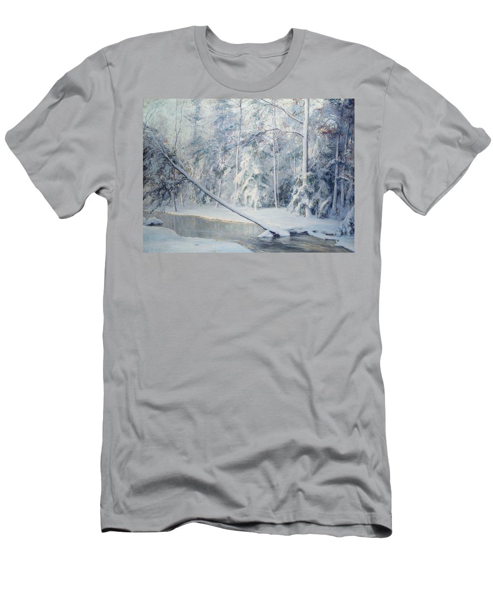Winter Men's T-Shirt (Athletic Fit) featuring the painting The Leaning Tree by Walter Launt Palmer