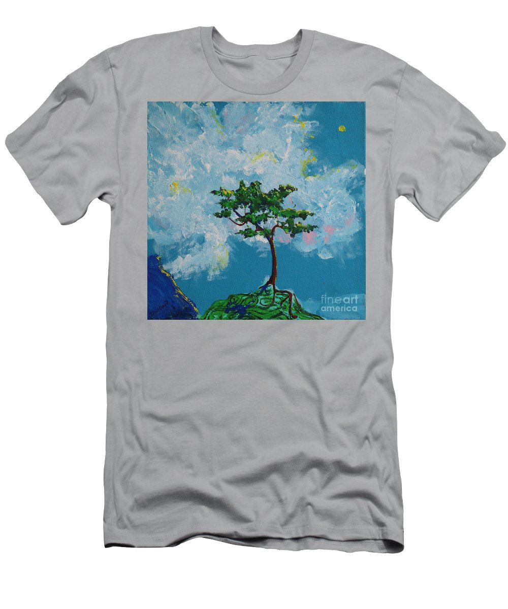 Fantasy Men's T-Shirt (Athletic Fit) featuring the painting The Little Grove - Little Tree by Stefan Duncan