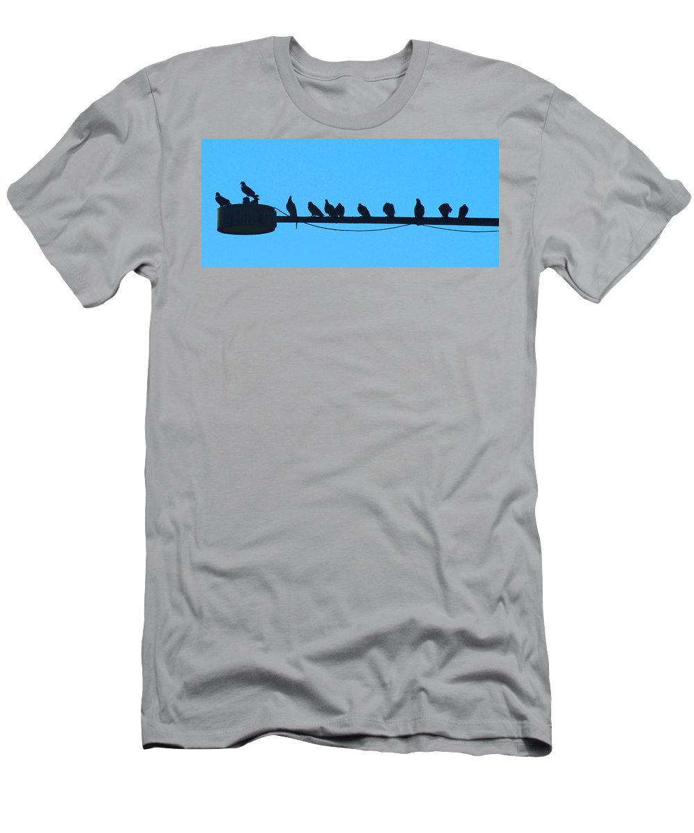 Birds Men's T-Shirt (Athletic Fit) featuring the photograph The Meeting Place by Heather Coen