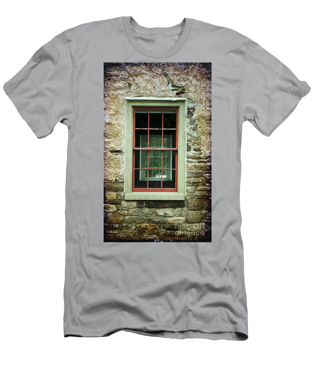 Window Men's T-Shirt (Athletic Fit) featuring the photograph The Mill Window by Debra Fedchin