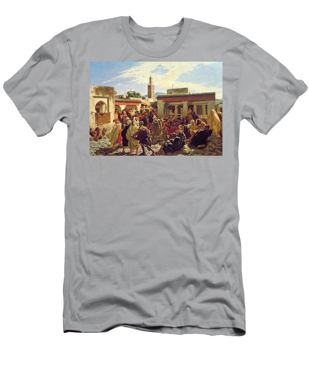 The Moroccan Storyteller Men's T-Shirt (Athletic Fit) featuring the painting The Moroccan Storyteller by Alfred Dehodencq