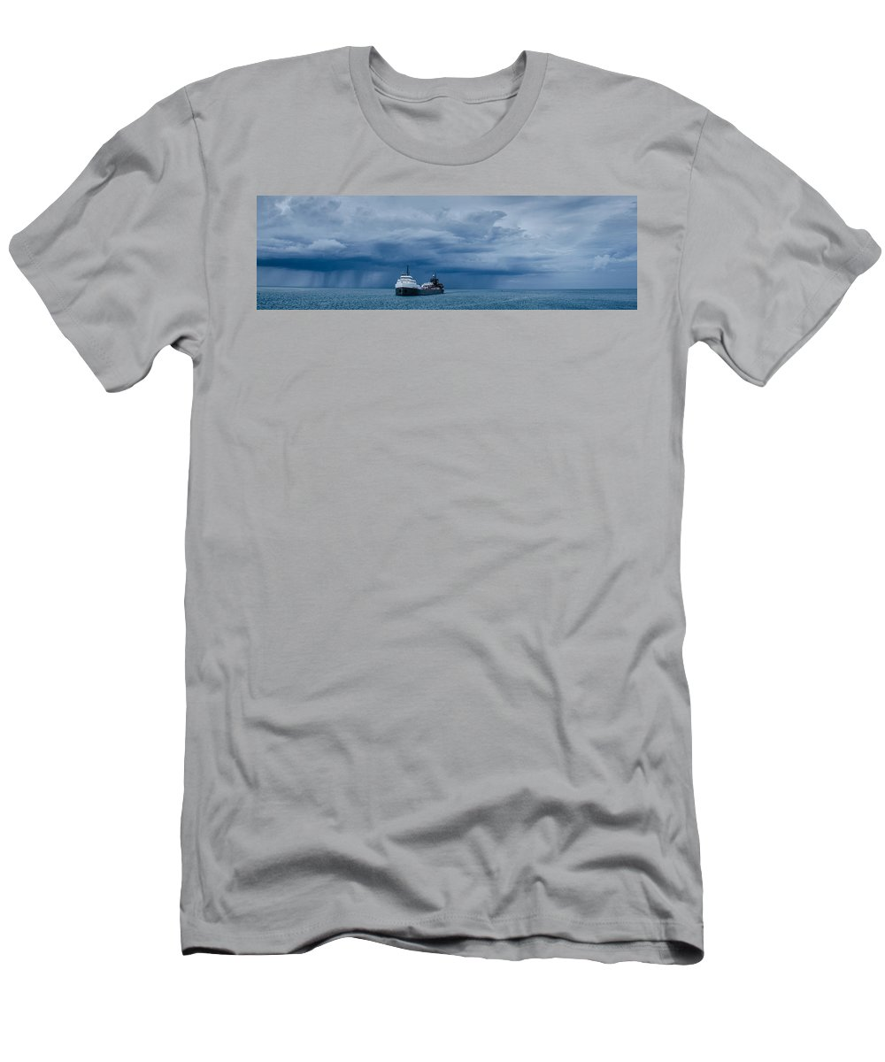 Michipicoten Men's T-Shirt (Athletic Fit) featuring the photograph The Oncoming Storm by Gales Of November