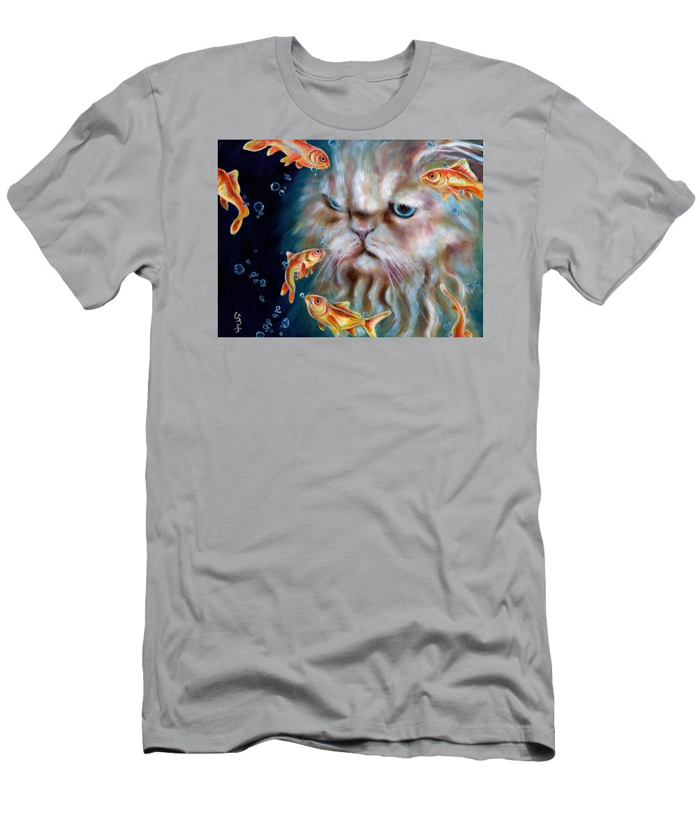 Cat Men's T-Shirt (Athletic Fit) featuring the painting The Other Side Of Midnight by Hiroko Sakai