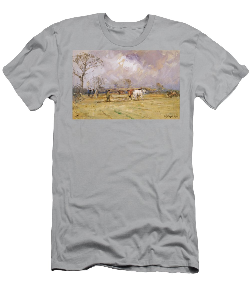 Plow Men's T-Shirt (Athletic Fit) featuring the painting The Plough Team by John Atkinson
