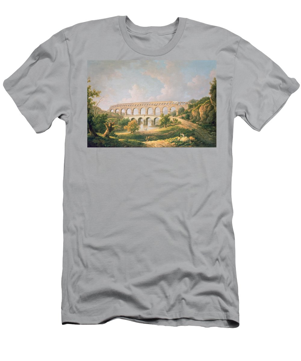 Landscape Men's T-Shirt (Athletic Fit) featuring the photograph The Pont Du Gard, Nimes by William Marlow