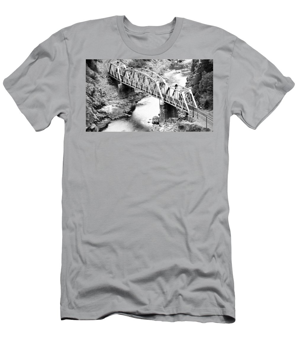 Railroad Men's T-Shirt (Athletic Fit) featuring the photograph The Rail Bridge by Holly Blunkall