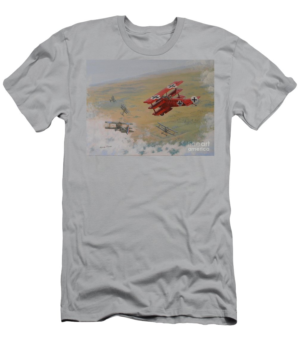 Red Baron Men's T-Shirt (Athletic Fit) featuring the painting The Red Baron by Elaine Jones