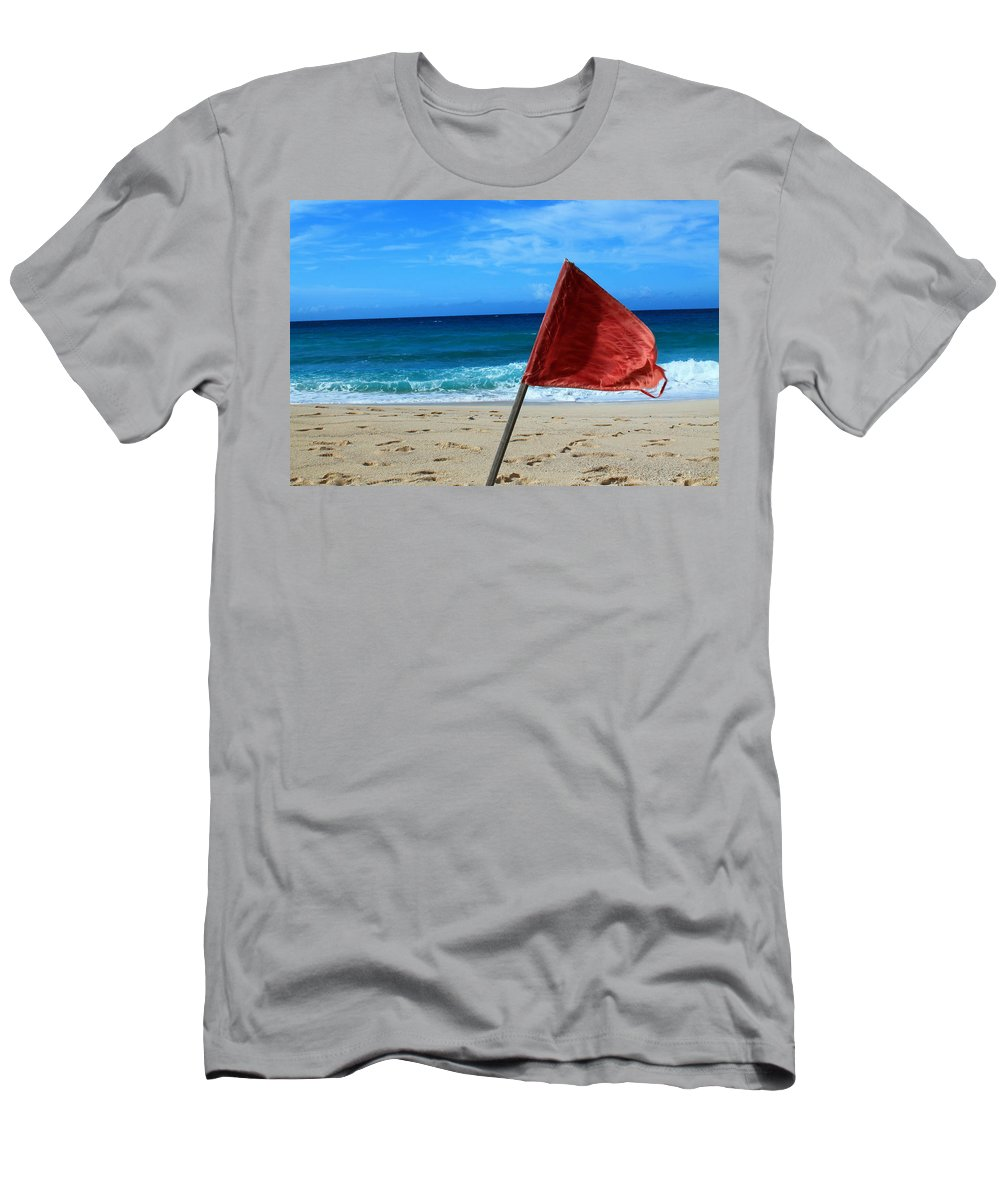 Barbados Men's T-Shirt (Athletic Fit) featuring the photograph The Red Flag by Catie Canetti