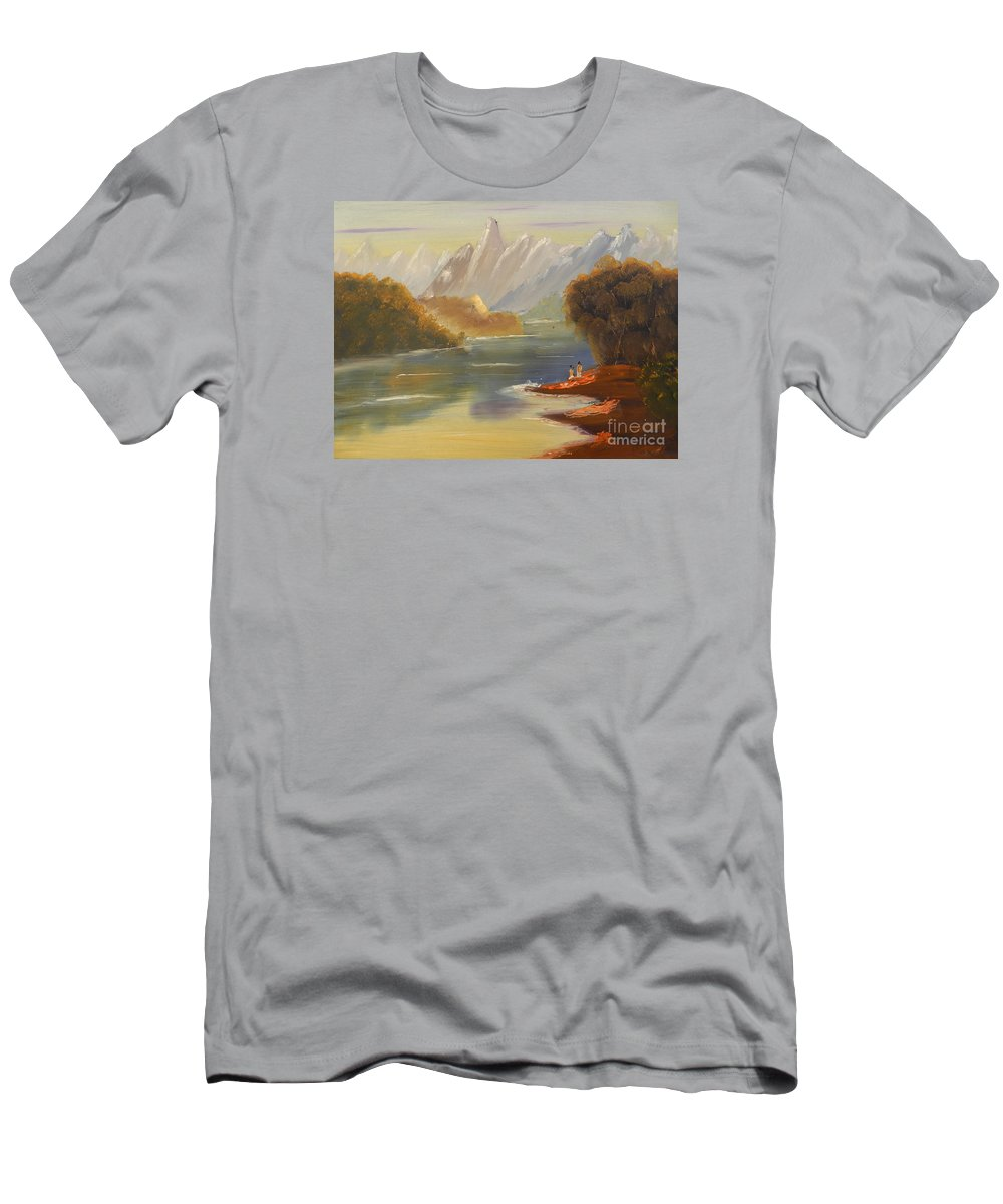 Impressionism Men's T-Shirt (Athletic Fit) featuring the painting The River Flowing From A High Mountain by Pamela Meredith