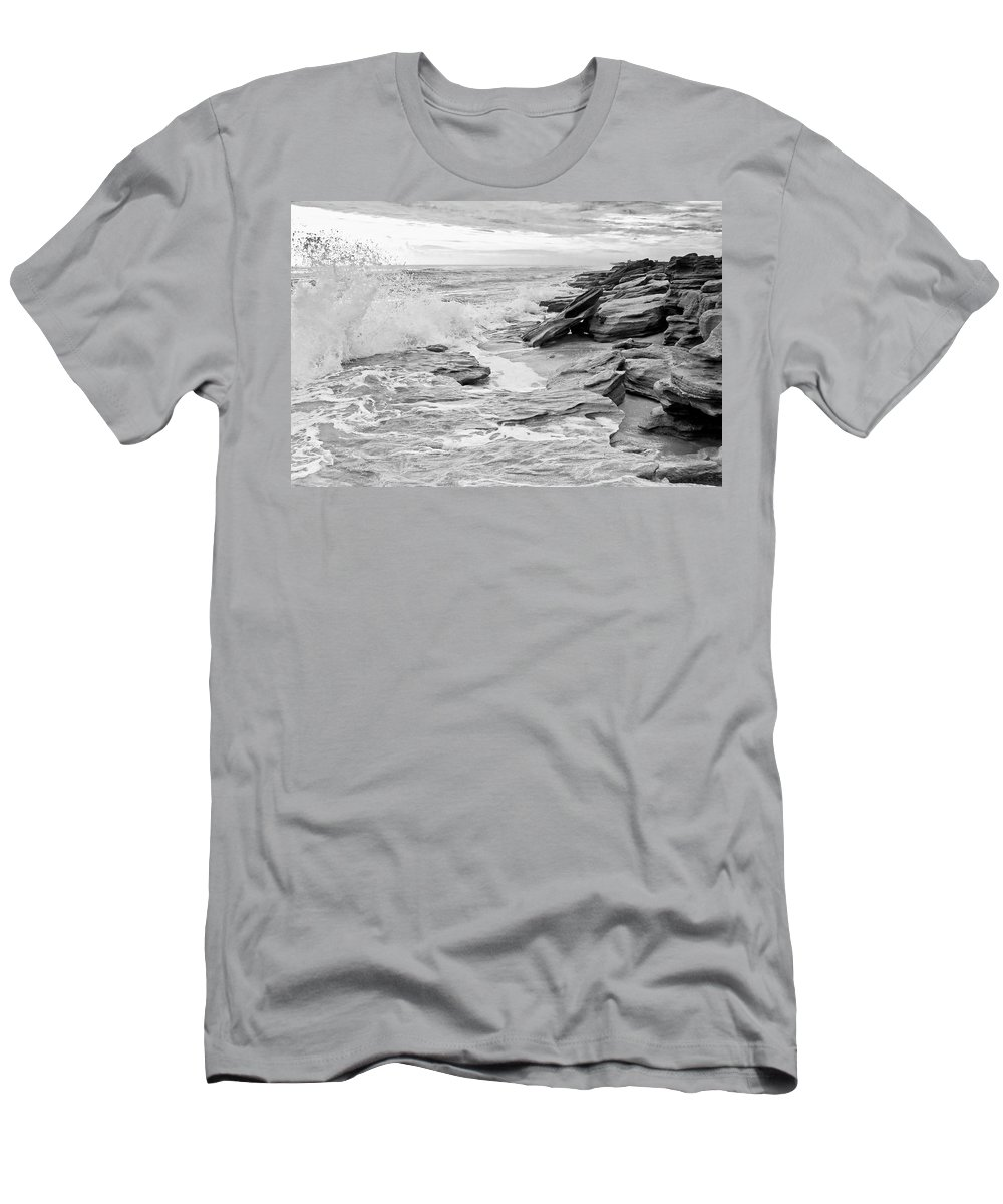 Flagler County Men's T-Shirt (Athletic Fit) featuring the photograph The Rocky Coast by Rich Leighton