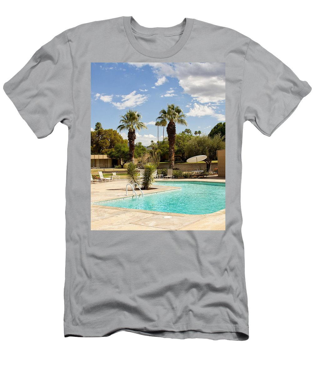 Sandpiper Men's T-Shirt (Athletic Fit) featuring the photograph The Sandpiper Pool Palm Desert by William Dey