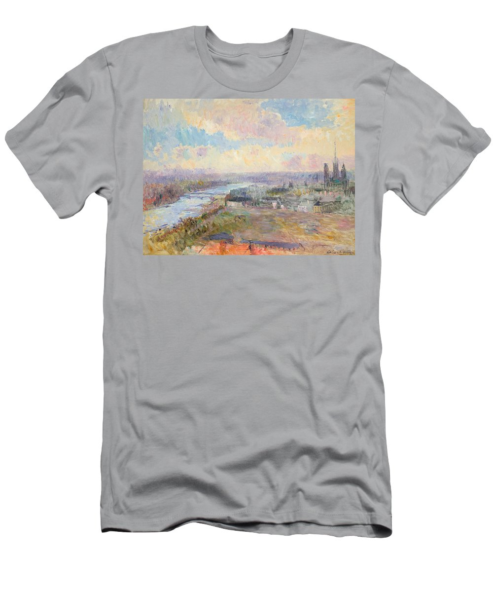 River Men's T-Shirt (Athletic Fit) featuring the painting The Seine At Rouen by Albert Charles Lebourg