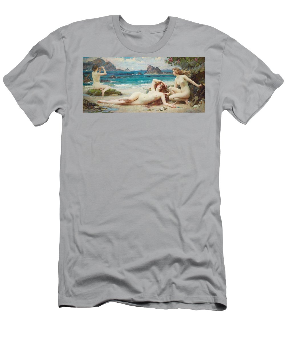 Nude Men's T-Shirt (Athletic Fit) featuring the painting The Sirens by Henrietta Rae